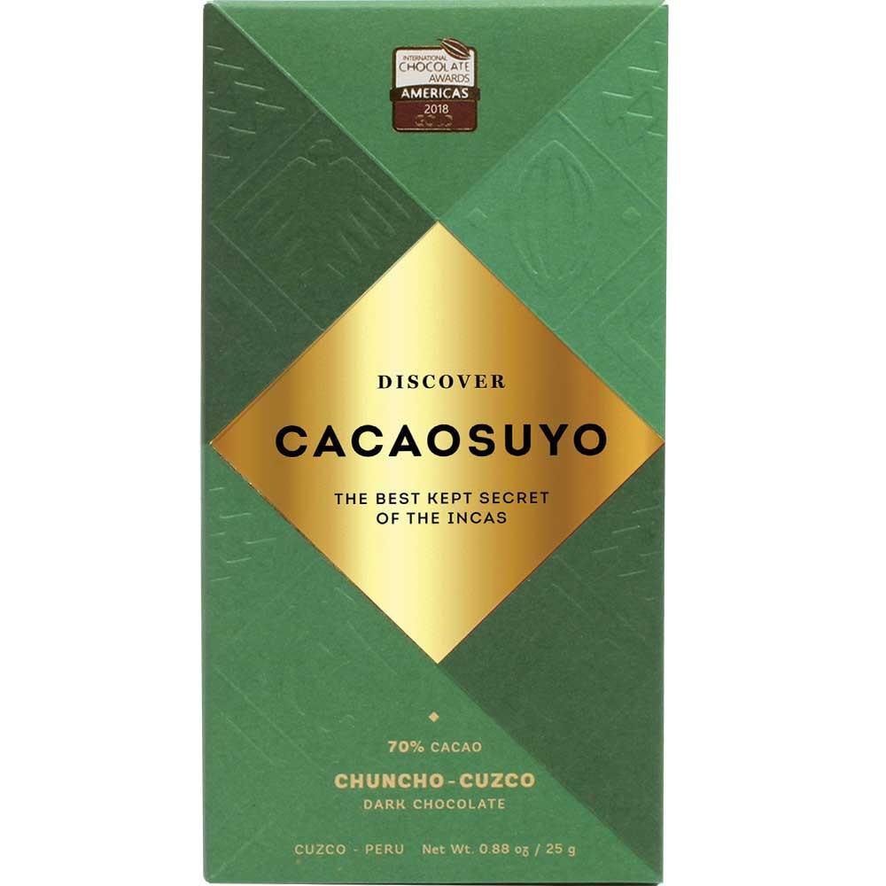 Chuncho Cuzco 70% dunkle Schokolade aus Peru, 25g - Barras de chocolate, Perú, chocolate peruano - Chocolats-De-Luxe