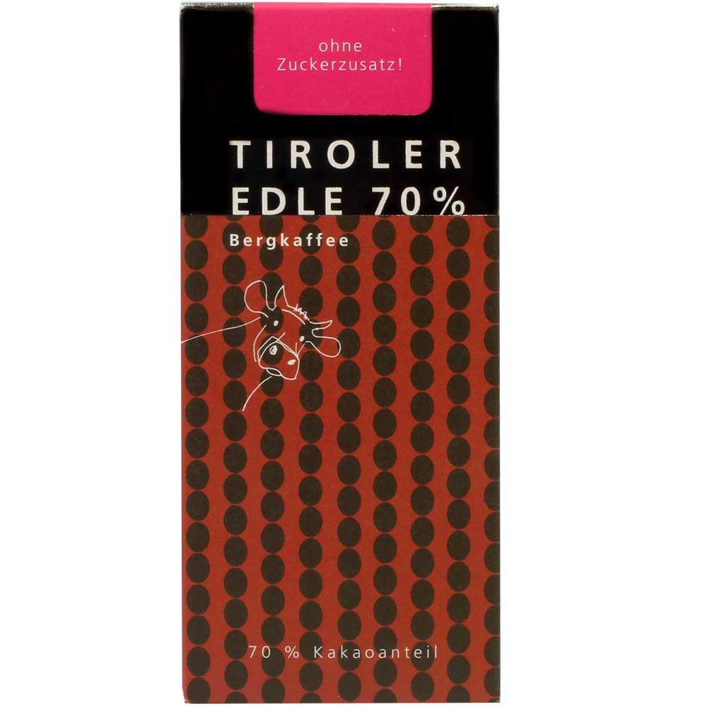 """""""Bergkaffee"""" cioccolato al latte fondente 70% con caffè - Tavola di cioccolato, cioccolato senza zucchero, Austria, Cioccolato austriaco, Cioccolato con caffè - Chocolats-De-Luxe"""