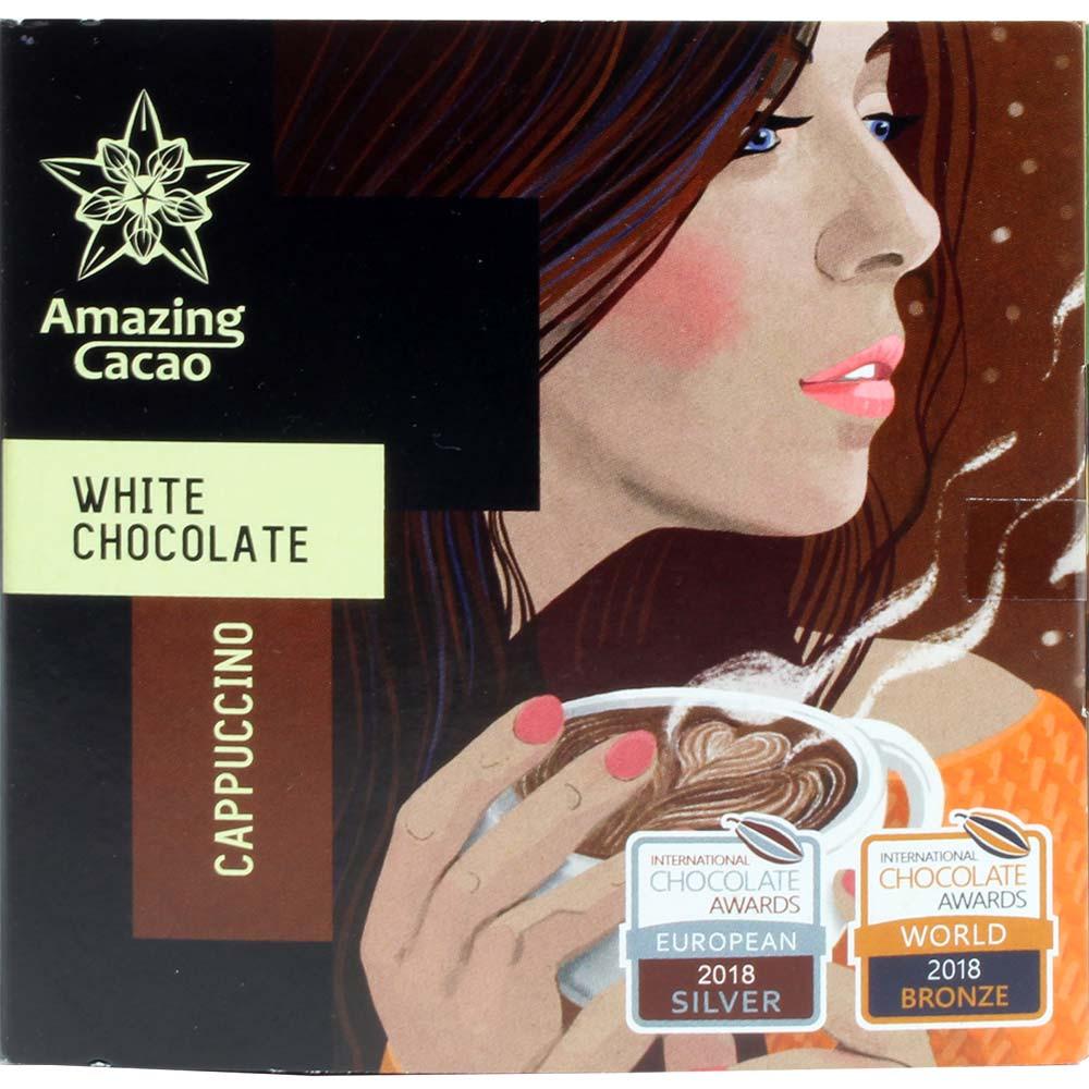 Cappuccino 40% weisse Schokolade , 2018 , Tavola di cioccolato , cioccolato fondente , Perù , Cioccolato dal Sud America , 40 % , Cioccolato Bean-To-Bar, Cioccolato Single Origin, cioccolato monorigine , Russia, Cioccolato russo , Cioccolato con caffè , marrone , Argento regionale - Intern. Chocolate Awards, Bronzo mondiale - Intern. Chocolate Awards - , banderuola, etichetta , Fieno , dolce, scuro , crema , Caffè , - Chocolats-De-Luxe
