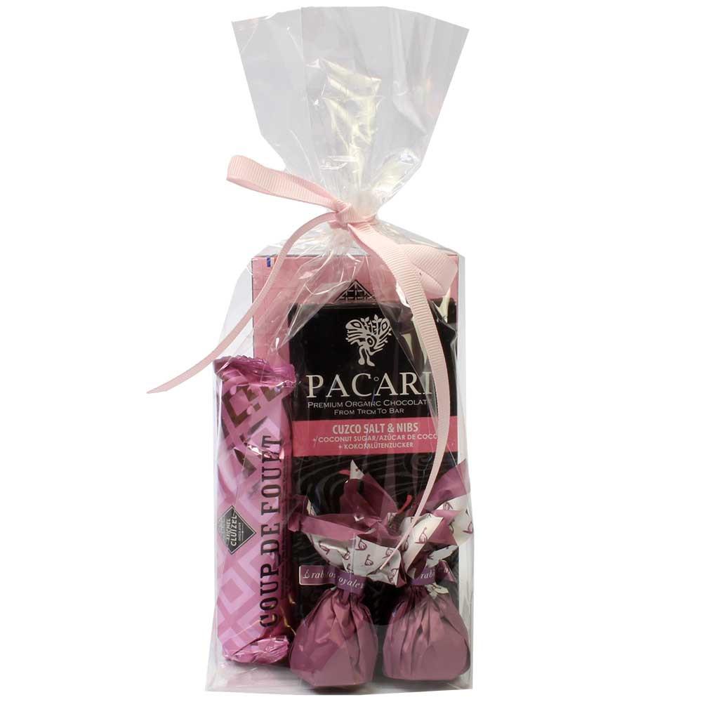 """Schokoladen Geschenkset """"Alles in Rosa"""" - Allemagne, chocolat allemand, Chocolat aux fruits - Chocolats-De-Luxe"""
