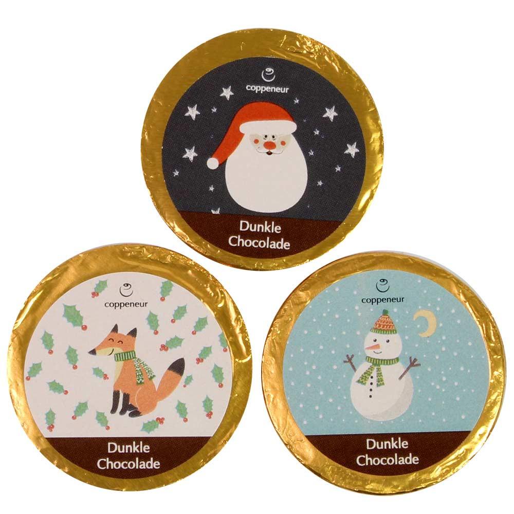 Weihnachtstaler aus dunkler Schokolade 70% - Napolitains, SweetFingerfood, alcoholvrije chocolade, geschikt voor vegetariërs, palmolievrije chocolade, veganistische chocolade, Duitsland, Duitse chocolade - Chocolats-De-Luxe