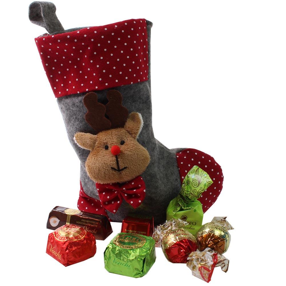 Weihnachtsstrumpf gefüllt mit Schokolade und mehr -  - Chocolats-De-Luxe