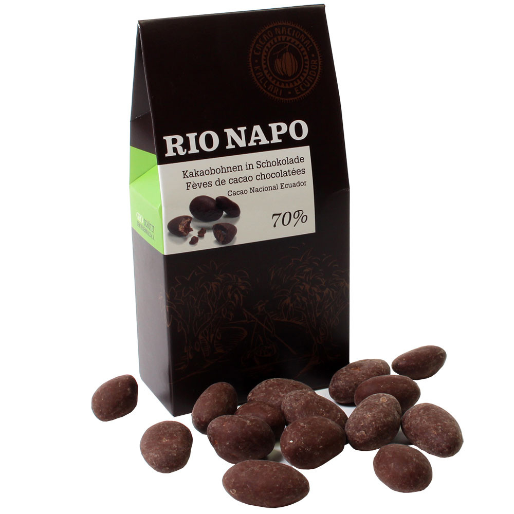 Cocoa beans in 70% organic chocolate - Chocolate coated, Cocoa beans, Switzerland, Swiss chocolate, Chocolate with cocoa /-nibs - Chocolats-De-Luxe
