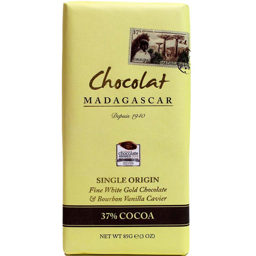 Chocolat Blanc 37% Cacao à la Vanille Bourbon - Tablette de chocolat, chocolat sans gluten, Madagascar, chocolat malgache, chocolat à la vanille - Chocolats-De-Luxe