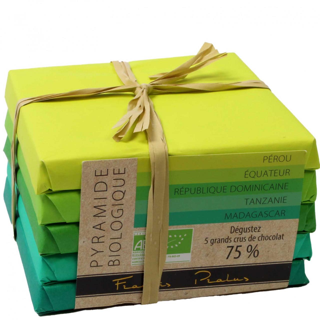 Pyramide Biologique mit 5 Bio-Schokoladen 75% - Tafelschokolade, glutenfreie Schokolade, laktosefreie Schokolade, sojafreie Schokolade, vegan-freundlich, Frankreich, französische Schokolade, pure Schokolade - Chocolats-De-Luxe