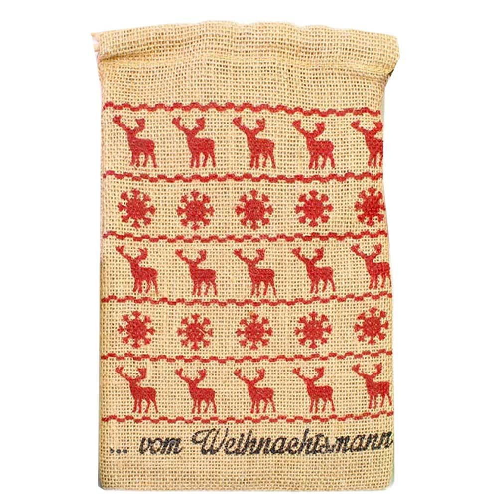 Beutel vom Weihnachtsmann natur/rot Jute -  - Chocolats-De-Luxe