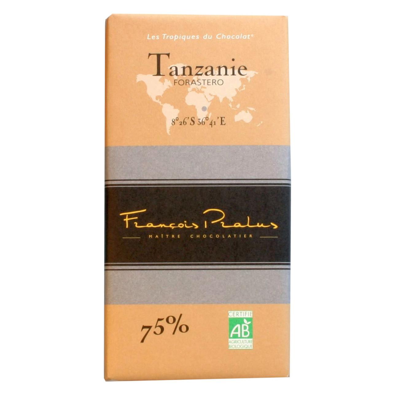 Pralus Frankreich dunkle Schokolade 75% Tansania Trinitario dark chocolate chocolat noir Afrika Africa Afrique                                                                                           - Tavola di cioccolato, cioccolato senza glutine, cioccolato senza lattosio, vegan-cordiale, Francia, cioccolato francese, Cioccolato con zucchero - Chocolats-De-Luxe