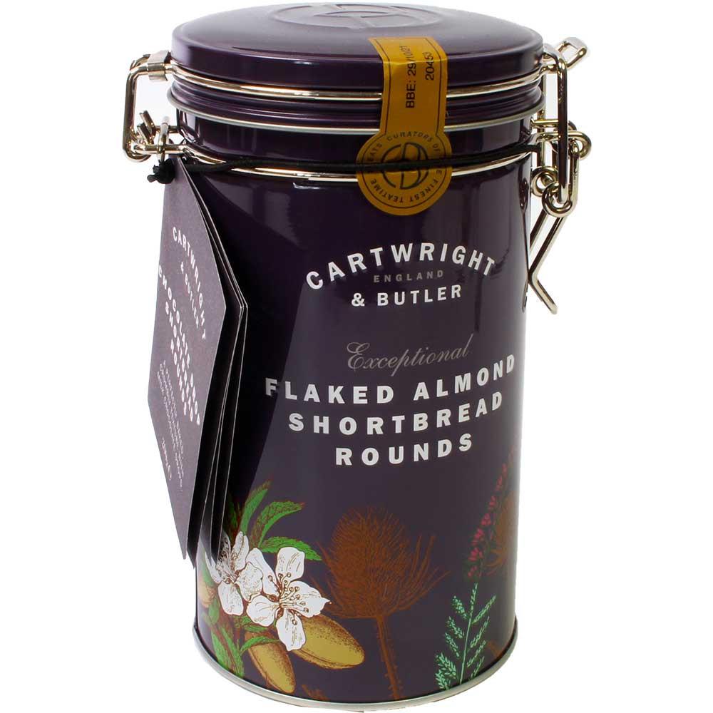 Shortbread Rounds Flaked Almonds - Zandkoekkoekjes met amandelschilfers - GGO-vrije chocolade, Schotland, Schotse chocolade - Chocolats-De-Luxe