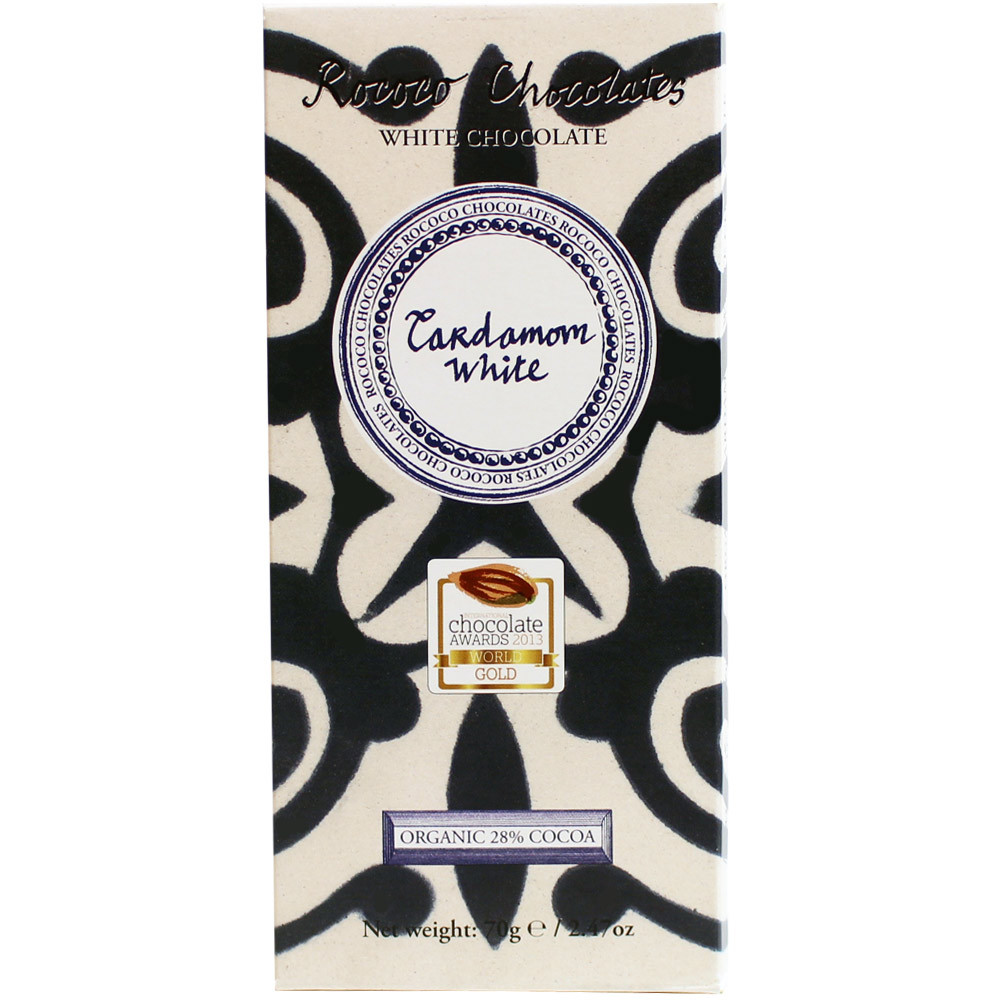 Kardamom Schokolade, Bioschokolade, organic, Bio, weisse Schokolade, award-winning chocolate,                                                                                                            - Bar of Chocolate, England, english chocolate, Chocolate with cardamom - Chocolats-De-Luxe