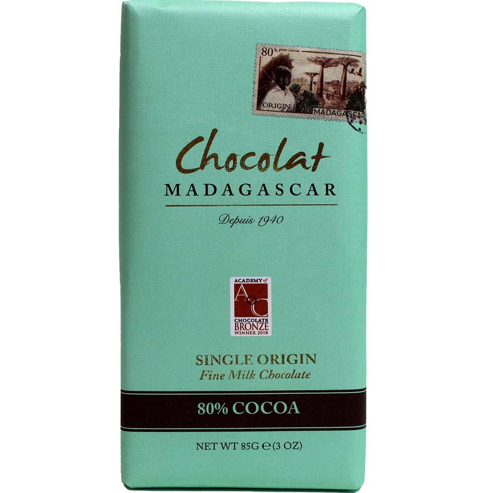 Chocolat Madagascar 80% Fine Milk Chocolate - Bar of Chocolate, sugar free chocolate, Madagascar, Madagascan chocolate, chocolate with milk, milk chocolate - Chocolats-De-Luxe