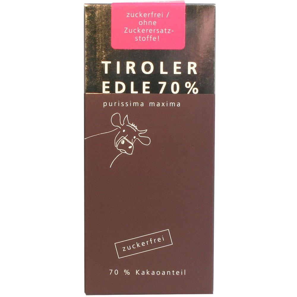 Tiroler Edle Österreich Grauvieh Domori dunkle Schokolade 70% zuckerfrei sugarfree sans sucre dark chocolate chocolat noir                                                                               - Tablette de chocolat, chocolat sans soja, Chocolat sans sucre, Autriche, chocolat autrichien, chocolat au lait - Chocolats-De-Luxe