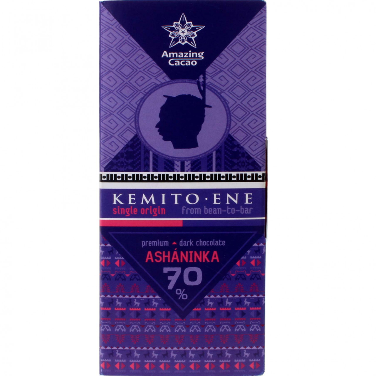 Asháninka Peru 70% dunkle Premium Schokolade , Bar of Chocolate , dark chocolate , Peru , Chocolate from South America , 70 % , Bean-To-Bar Chocolate, Single Origin Chocolate , Russia, Russian chocolate , purple , directly traded, Chocolate Fairly traded , sleeve, Sticker , - Chocolats-De-Luxe