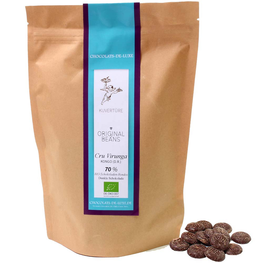250 g BIO Envelope 70% Cru Virunga from Original Beans - Couverture, gluten free chocolate, laktose free chocolate, lecithin free chocolate, vegan chocolate, Switzerland, Swiss chocolate, Chocolate with sugar - Chocolats-De-Luxe