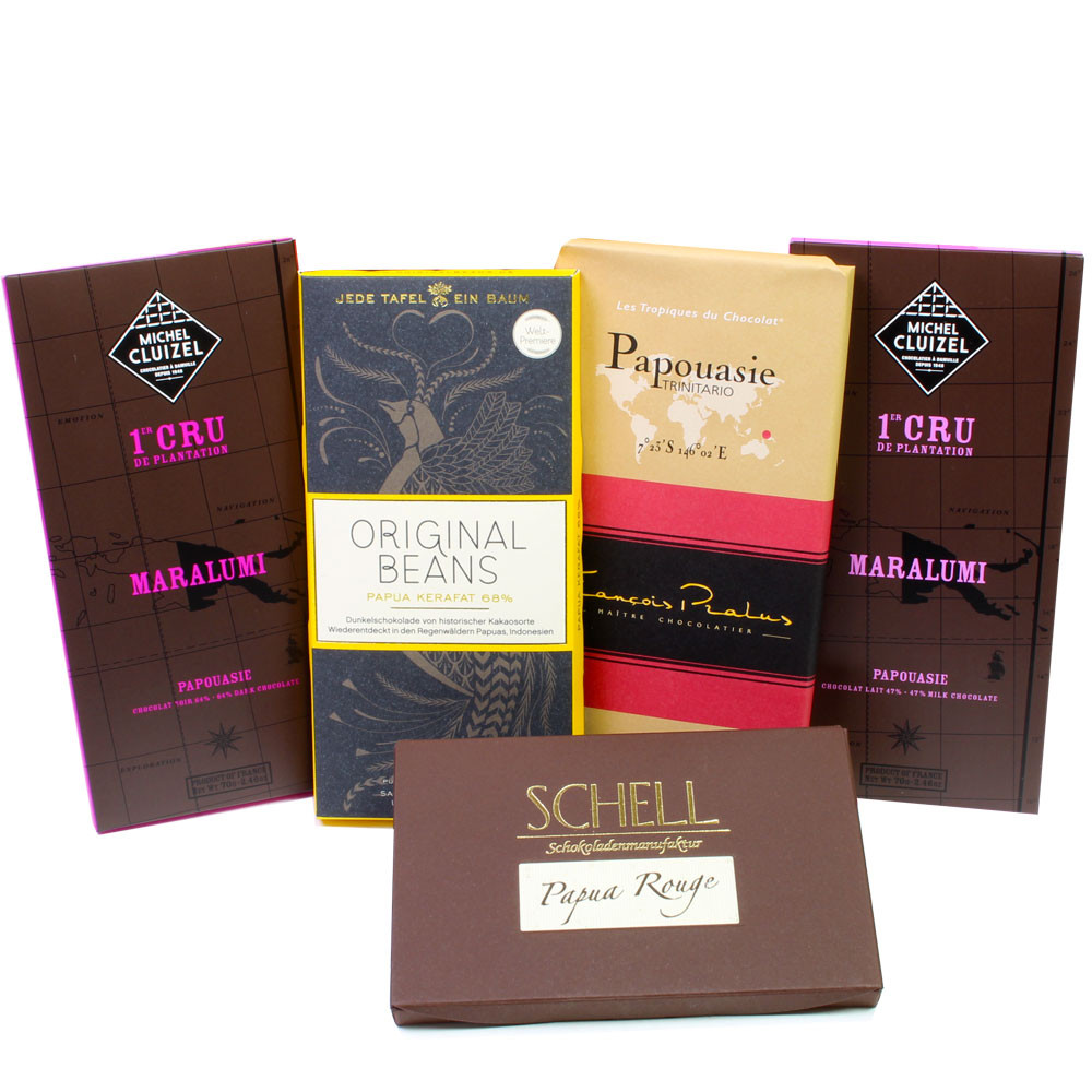 Geschenkset, Paket Papua Neuguinea, Australien, dunkle Schokolade, Bean-to-Bar, Herkunftsschokolade, Single Origin chocolate