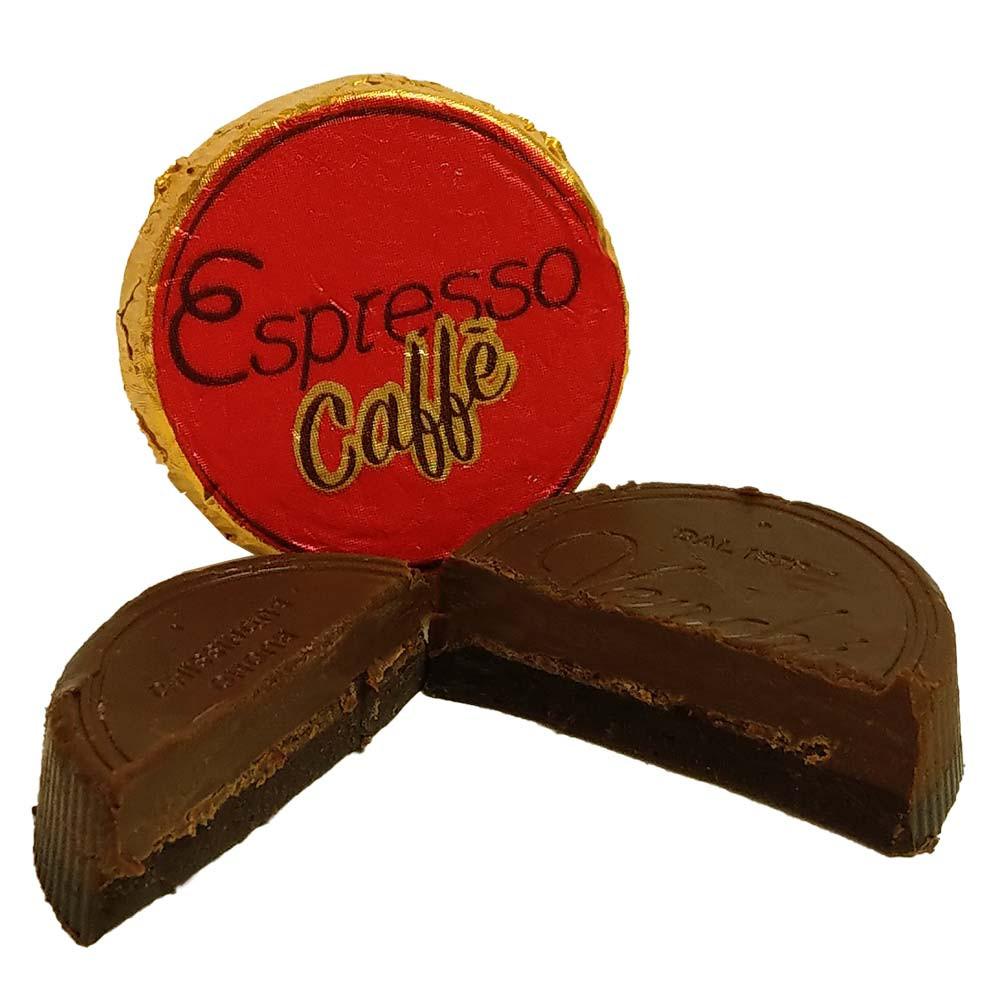 Praline Espresso Café con pezzi di fave di cacao in cioccolato fondente 75% - Cioccolatini, Fingerfood dolce, Cioccolato senza alcol, cioccolato senza glutine, Italia, cioccolato italiano, Cioccolato con caffè - Chocolats-De-Luxe