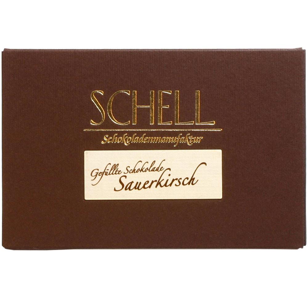 Schell Schokoladenmanufaktur Gundelsheim Deutschland gefüllte Schokolade mit Alkohol Sauerkirsch cherry                                                                                                  - Tablette de chocolat, Allemagne, chocolat allemand, Chocolat à l'alcool - Chocolats-De-Luxe