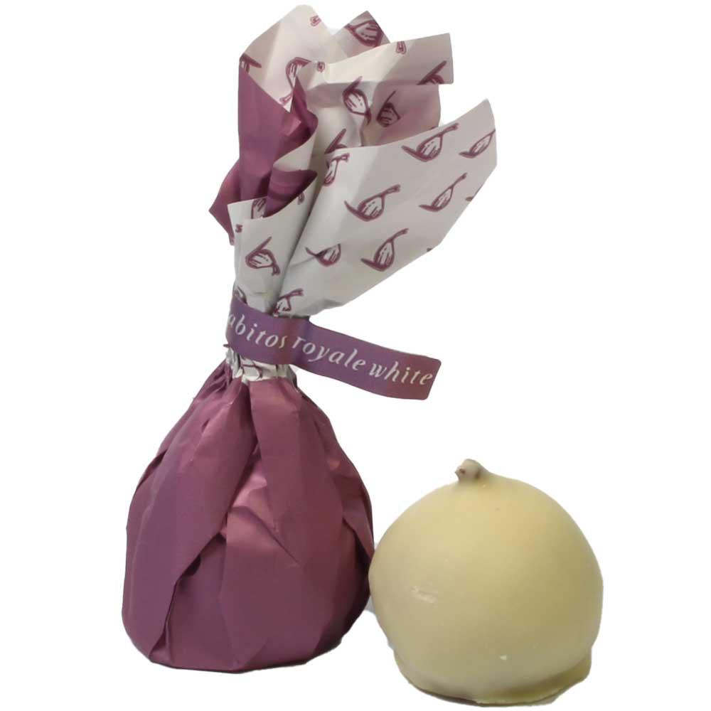 Rabitos Royale White - higo relleno de trufa de fresa - Recubierto de chocolate, SweetFingerfood, Chocolate sin alcohol, Francia, chocolate francés, Chocolate con fresas - Chocolats-De-Luxe