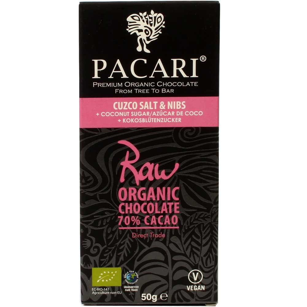 70% Raw Schokolade Cuzco Pink Salt & Nibs + Coconut Sugar - Bar of Chocolate, Parve chocolate, Pareve chocolate, raw chocolate, Ecuador, ecuadorian chocolate, Chocolate with cocoa /-nibs - Chocolats-De-Luxe
