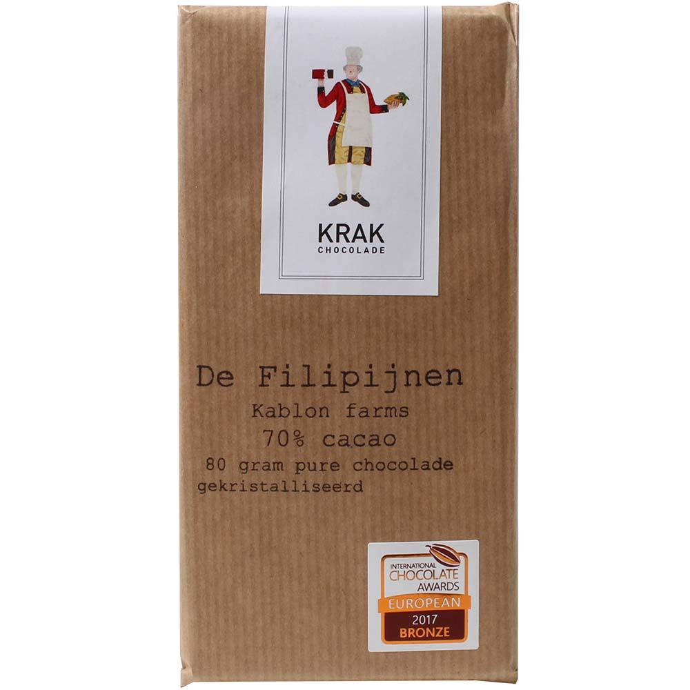 De Filipijnen - Kablon Farms 70% Cioccolato - Tavola di cioccolato, cioccolato senza glutine, cioccolato senza lattosio, cioccolato senza lecitina, cioccolato senza noci, cioccolato senza soia, cioccolato vegano, Paesi Bassi, Cioccolato olandese, cioccolato puro senza ingredienti - Chocolats-De-Luxe