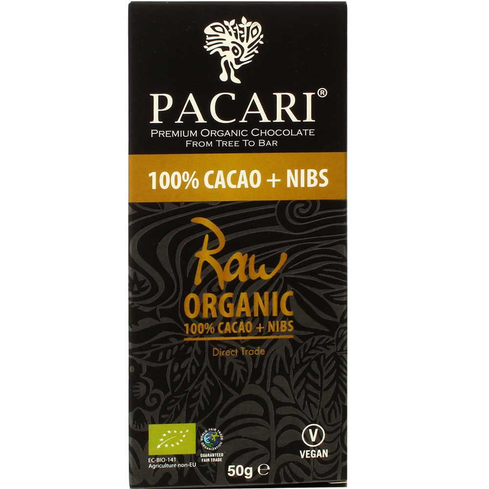 100% cacao + 1% nibs chocolate Raw - orgánico - Barras de chocolate, chocolate crudo, Chocolate Kosher, chocolate sin gluten, Ecuador, chocolate ecuatoriano, Chocolate con cacao /-nibs - Chocolats-De-Luxe