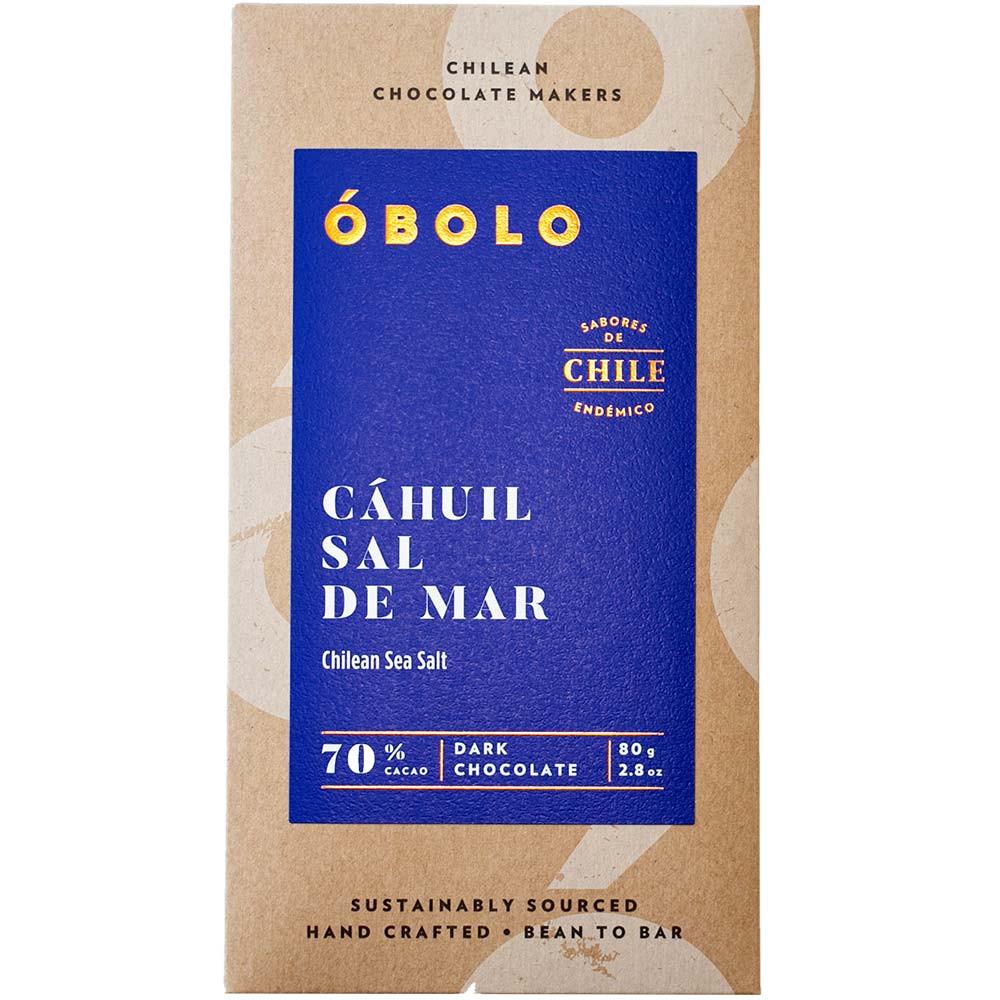 Óbolo Chocolate Cáhuil Sal de Mar 70% Schokolade - Tablette de chocolat, chocolat sans gluten, chocolat sans soja, chocolat végétalien, Chili, chocolat chilien, Chocolat avec sel - Chocolats-De-Luxe