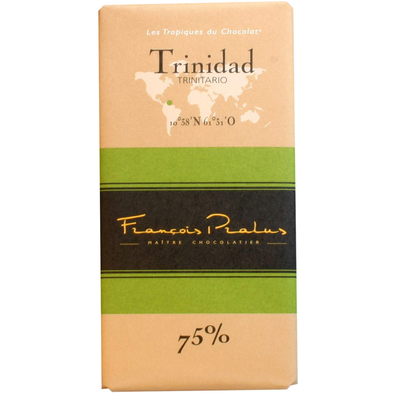 Dunkle Schokolade, 75%, Trinidad, Trinitario, dark chocolate, chocolat noir, Herkunftsschokolade, Bean to bar,                                                                                           - Barras de chocolate, Francia, chocolate francés - Chocolats-De-Luxe