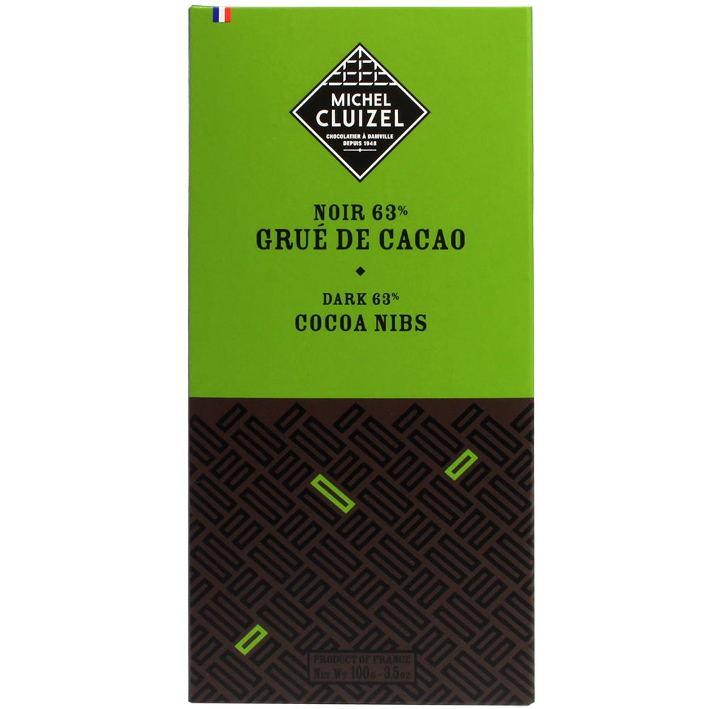 63% Dark with cocoa nibs - Bar of Chocolate, France, french chocolate, Chocolate with cocoa /-nibs - Chocolats-De-Luxe
