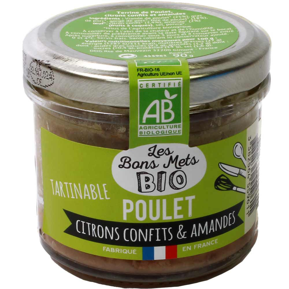 Tartinable Poulet Citrons Confits & Amandes - BIO Aufstrich mit Huhn, kandierter Zitrone & Mandeln -  - Chocolats-De-Luxe