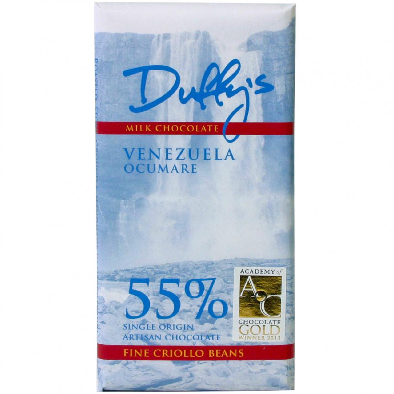 Venezuela Ocumare 55%, Duffy's Chocolate, 55% Milchschokolade, Schokolade aus Venezuela, milkchocolate, chocolat au lait, single origin Schokolade, criollo Schokolade,