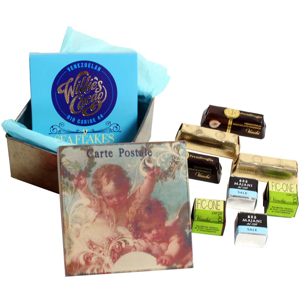 Angel laughing gift tin with chocolate and sweet finger food -  - Chocolats-De-Luxe