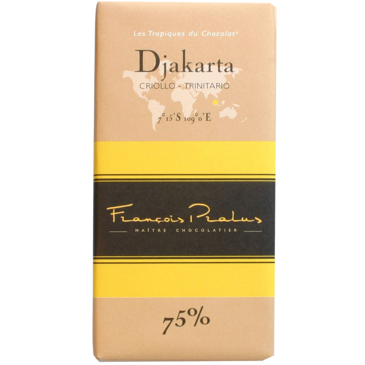 Pralus Frankreich dunkle Schokolade 75% Djakarta Criollo Forastero dark chocolate chocolat noir                                                                                                          - Tablette de chocolat, France, chocolat français - Chocolats-De-Luxe