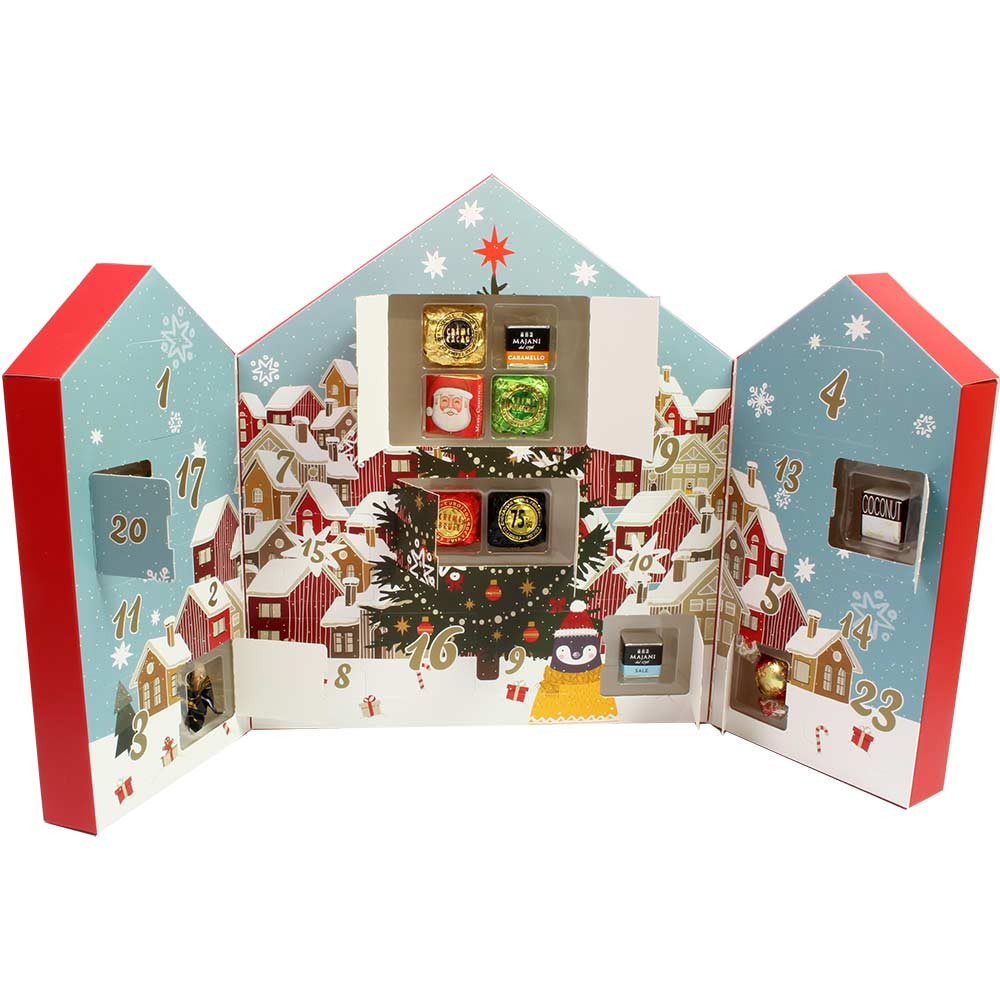 Adventskalender Winterdorf mit Füllung - Calendario de Adviento, Chocolate sin alcohol - Chocolats-De-Luxe
