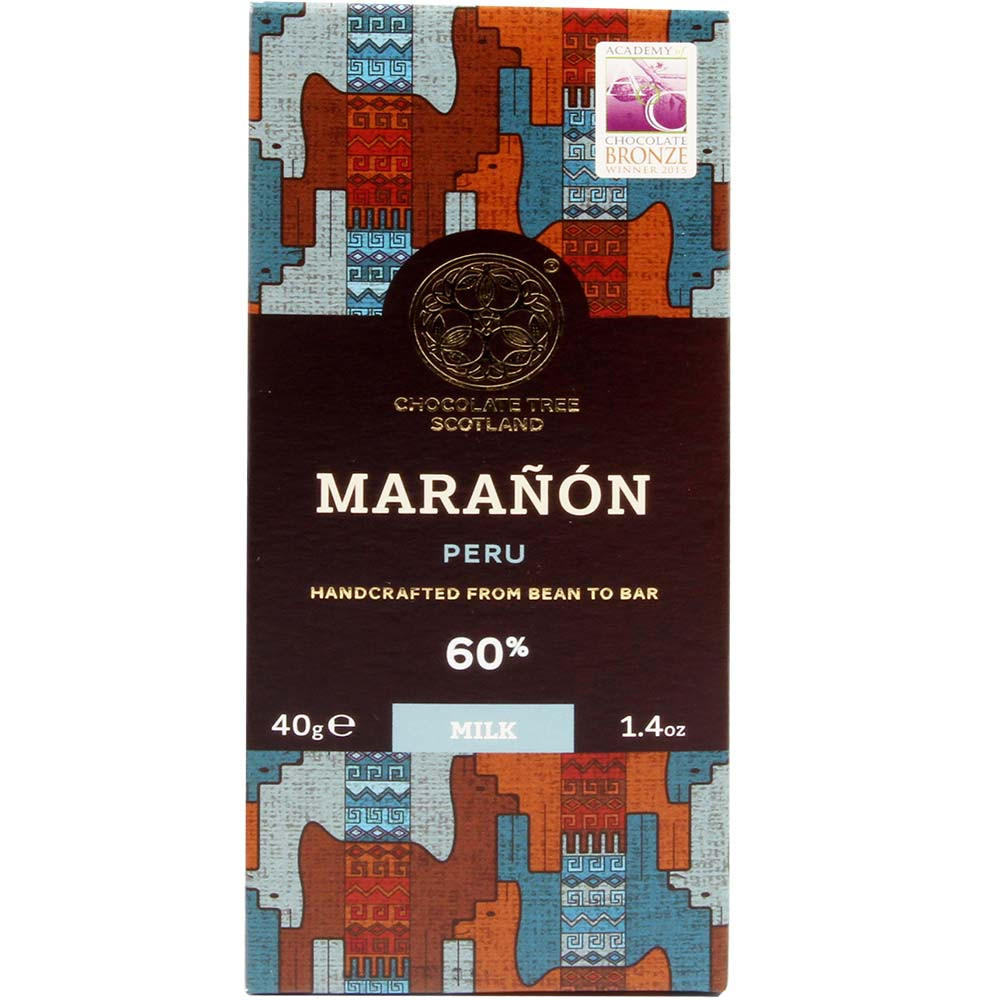 60% Maranon Dark Milk Chocolate Peru - Bar of Chocolate, Scotland, Scottish chocolate, chocolate with milk, milk chocolate - Chocolats-De-Luxe